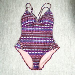 Xhilaration Pinks Purple Print One Piece Swimsuit